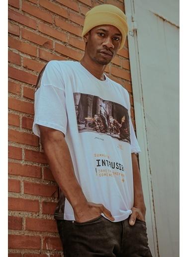 XHAN Beyaz Önü & Arkası Baskılı T-Shirt 1Kxe1-44597-01 Beyaz